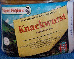 Knackwurst, gegart, im großen Glas